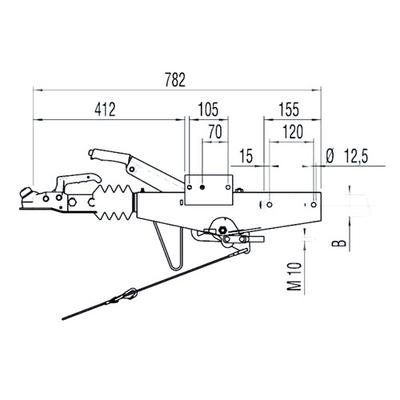 Työntöjarru AL-KO 90S/3 suora (1000 kg 70 mm)