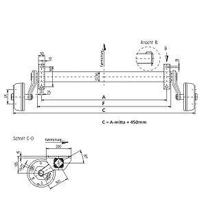 Jarruakseli 1050 kg A1200/1650 (Nieper GFA1050 4x100 kompaktilaakeroitu)