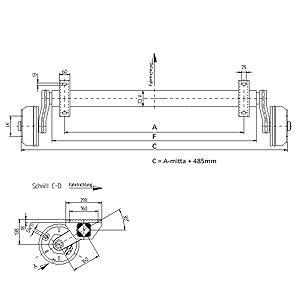 Jarruakseli 1500 kg A1600/2085 (Nieper GFA1580 5x112 200x50)