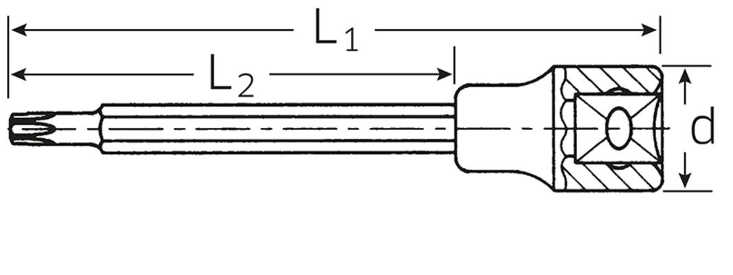 Torx-hylsyavain, pitkä 1054TX/2054TX, Stahlwille - T30 - 120 mm