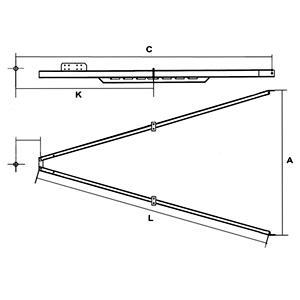 Kippiaisa 2700 kg 3000 mm oikea+vasen (RT-2700-48 40x80)