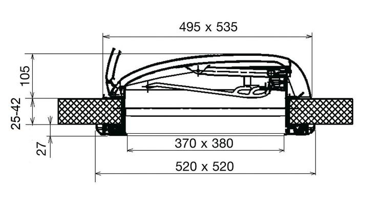 Kattoluukku Mini Heki 40 x 40 cm, Dometic - Kattoluukku Mini Heki 40 x 40 cm