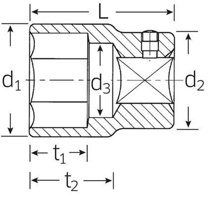 "Hylsyavain 1"", Stahlwille 60 - Avainväli 30 mm, pituus 105 mm"