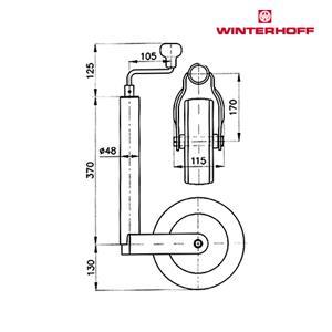 Nokkapyörä 150 kg peltivanne (WW 260x85 ø48 ilmakumipyörä)