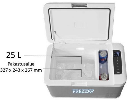 Matkajääkaappipakastin kompressorilla 25 l (DC 12/24V), Frezzer