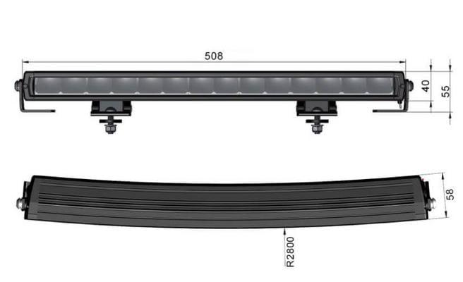 Led-lisävalo Slim - Kaareva | 52 cm | 8800 lm | Ref. 40, Arctic Bright