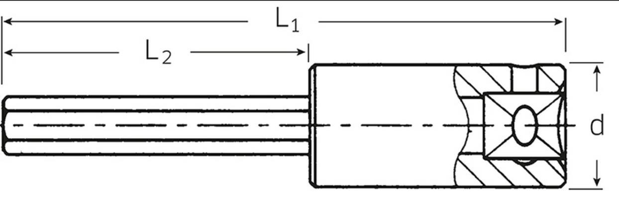 """Kuusiokolohylsyavain 1/4"""", Stahlwille 44 - Kuusiokolohylsyavain 3 mm"""