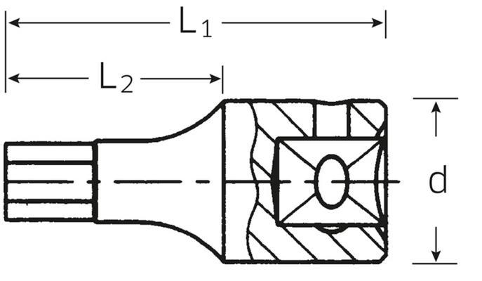 """Kuusiokolohylsy 1/4"""", Stahlwille - Kuusiokolohylsy 3 mm"""