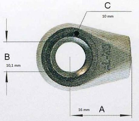 Silmukkapää kaasujouseen, reikä 10.1 mm, AL-KO - Silmukkapää kaasujouseen, reikä 10.1 mm