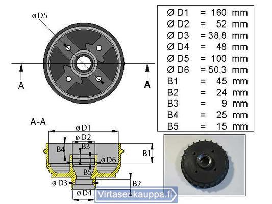 """Jarrurumpu 160 mm  4x100"""", Valeryd - Jarrurumpu 160 mm  4x100"""