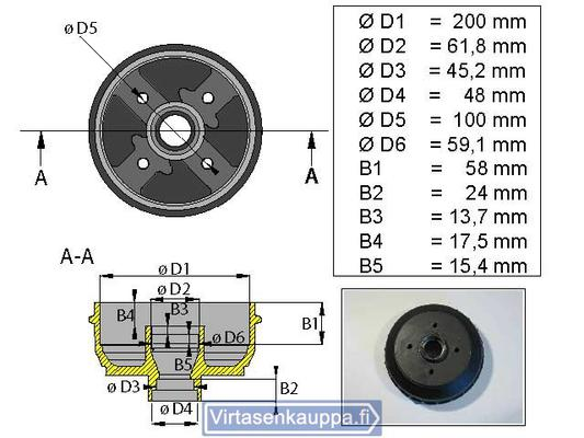 """Jarrurumpu 200 mm 4x100"""", Valeryd - Jarrurumpu 200 mm 4x100"""""""