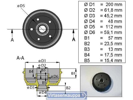 """Jarrurumpu 200 mm  5x112"""", Valeryd - Jarrurumpu 200 mm  5x112"""