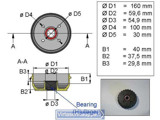 "Jarrurumpu 160 mm Euro 4x100"" kompakti laakerilla, Valeryd - Jarrurumpu 160 mm Euro 4x100"" kompakti laakerilla"