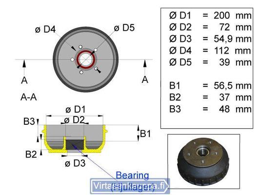 "Jarrurumpu 200 mm  Euro 5x112"" kompakti laakerilla, Valeryd - Jarrurumpu 200 mm  Euro 5x112"