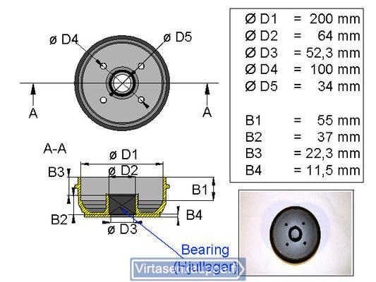 Jarrurumpu 200x50 4x100 kompakti laakerilla - Valeryd - Jarrurumpu 200x50 4x100 kompakti laakerilla