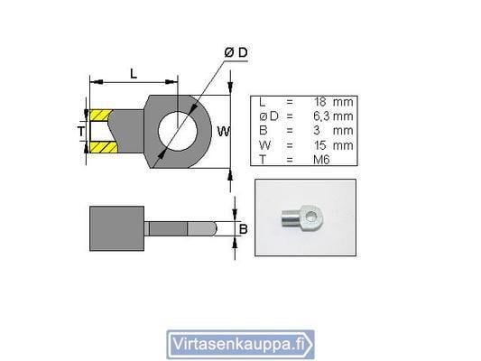 Kiinnityssilmukka kaasujouselle; L8/M5, Valeryd - Kaasujousen kiinnityssilmukka L8/M5