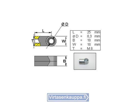 Kiinnityssilmukka kaasujouselle, L25 M8 - Valeryd - Kaasujousen kiinnityssilmukka L25 M8