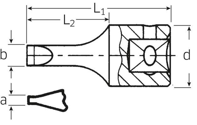 """Suorauraruuvihylsyavain 1/4"""", Stahlwille 41K - 0,6x3,5 mm"""