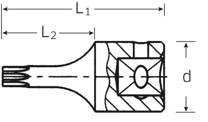 """Bo-torx -hylsyavain 1/4"""", Stahlwille 44KTXB - T8"""