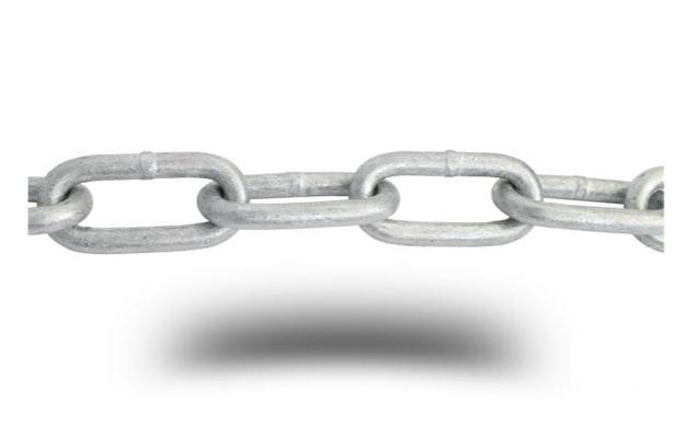 Pitkälenkkinen ketju, kuumasinkitty (DIN 5685) - Pitkälenkkinen galvanoitu ketju 7 x 49 x 14 mm, 20 m/rulla
