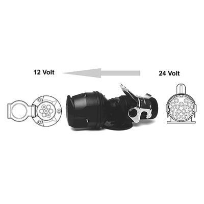Jännitteenmuunnin 24/12V (15-nap (ISO12098)/ 7-nap vakio)