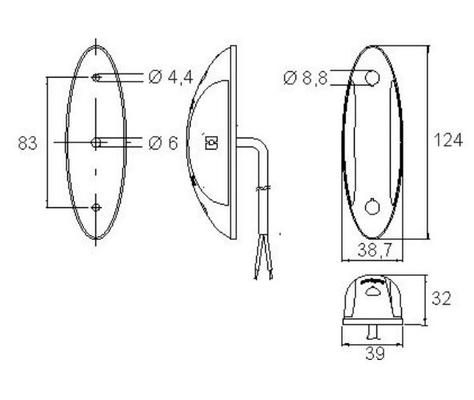 Led-äärivalo 9-32 V, puna-valkoinen, Jokon  - Led-äärivalo 9-32 V, puna-valkoinen