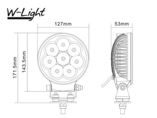 Led-lisävalo Lightning 125 - Pyöreä | 13 cm | 2160 lm | Ref. 25, W-Light - W-Light Lightning 125 LED-kaukovalo