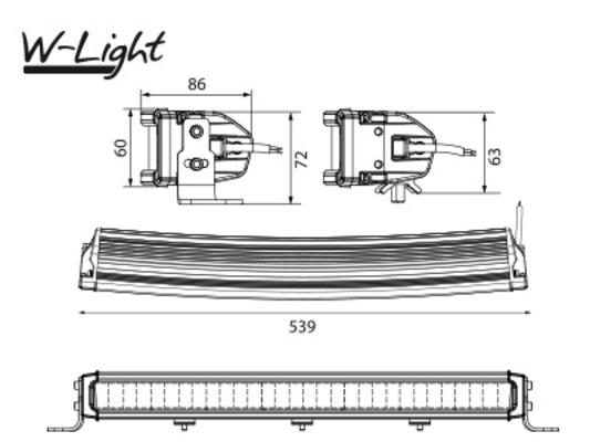Led-lisävalo Comber - Kaareva   54 cm   13500 lm   Ref. 45, W-Light - Led-kaukovalopaneeli (150 W / 13500 lm), W-Light