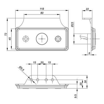 Led-etuäärivalo kulmakiinnikkeellä 12-36 V - Led-etuäärivalo kulmakiinnikkeellä 12-36 V