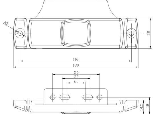 Led-takaäärivalo muovikiinnikkeellä, 12-36 V - Led-takaäärivalo muovikiinnikkeellä, 12-36 V