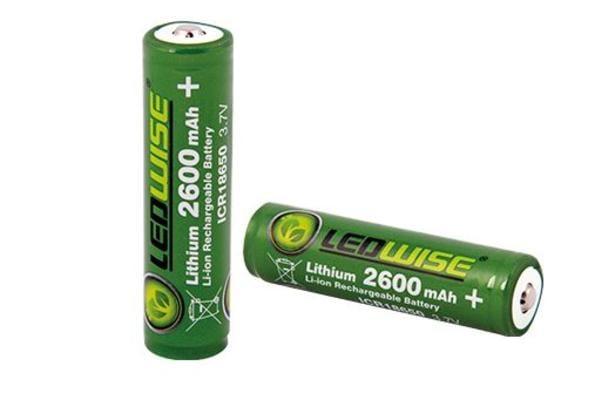 Lithium-paristo ICR18650 (2600 mAh / 3,7 V), Ledwise - Lithium-paristo ICR18650 (2600 mAh / 3,7 V)