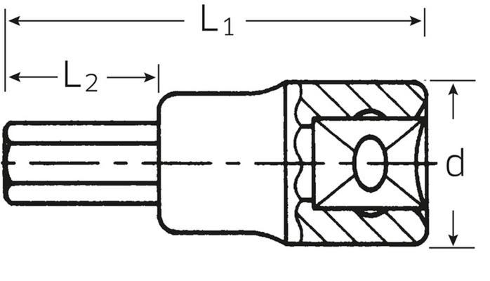 """Inhex-hylsyavain 3/8"""" Stahlwille 49 - 3 mm"""