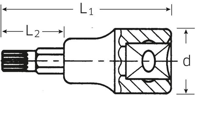 """XZN-hylsyavain 3/8"""", Stahlwille 49X - M5"""