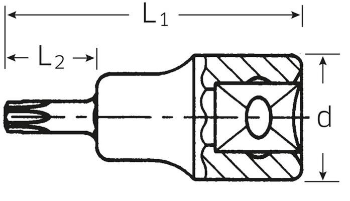 """Torx-hylsyavain 3/8"""", Stahlwille 49TX - T9"""