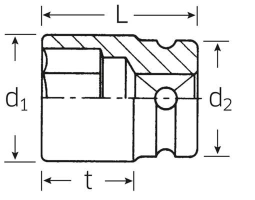 "Impact-hylsyavain 1/2"", Stahlwille 51IMP - 13 mm"