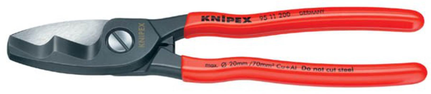 Kaapelileikkurit, kaksoisterä 200 mm - Knipex