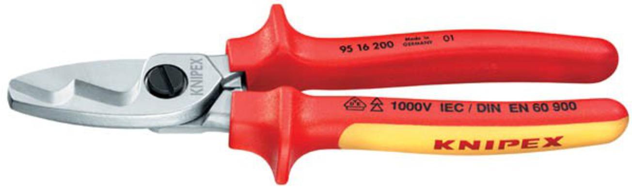 Kaapelileikkurit 2K VDE, kaksoisterä, 200 mm - Knipex