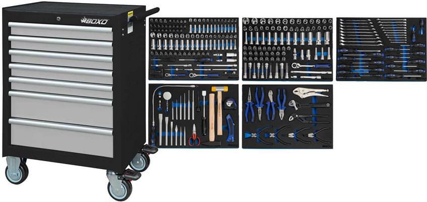 Työkaluvaunu ja 330-osainen työkaluvalikoima, Boxo - Työkaluvaunu työkaluilla (ilman laatikoston hidastimia)