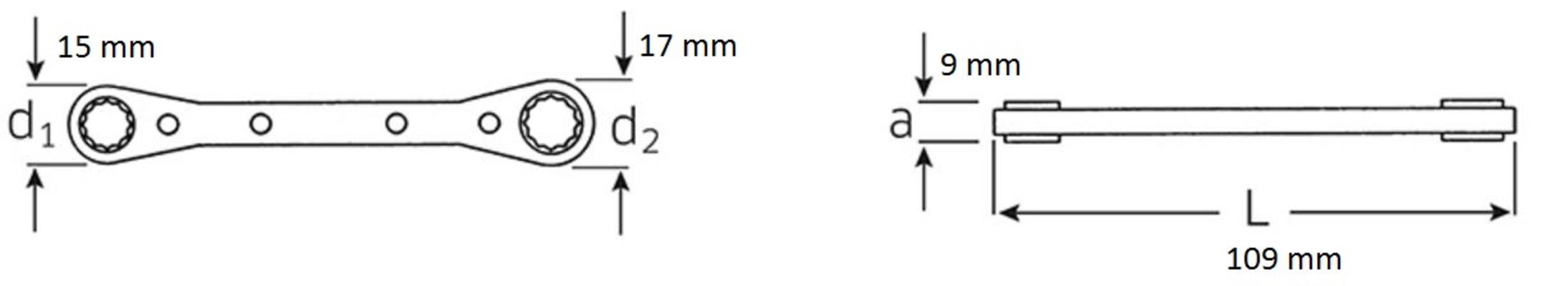 Räikkälenkkiavain 7 mm ja 8 mm, Stahlwille - Räikkälenkkiavain 7 mm ja 8 mm