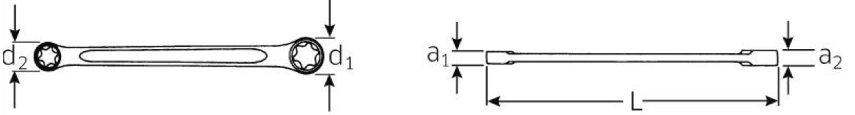 Torx-silmukka-avain, Stahlwille - Silmukka-avain E6 x E8, pituus 115,5 mm