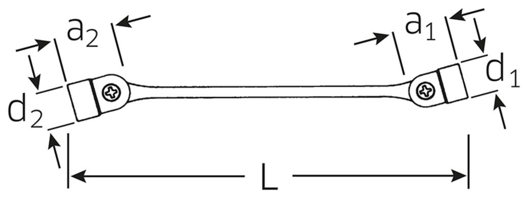 Nivelhylsyavain Flexi, Stahlwille 29 - Avainväli 8 x 9 mm, pituus 201 mm