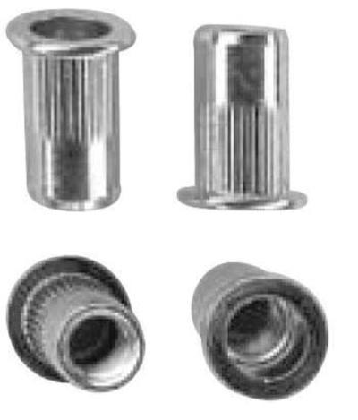 Niittimutteri: avoin, tasakanta, rihlattu - teräs, sinkitty, Masterfix - Niittimutteri M3 / 10 mm / 0,5 - 3,0 mm / 250 kpl
