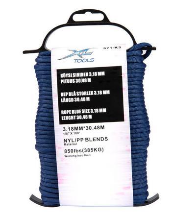 Punottu nylon-polypropeeniköysi 3.2 mm (30 m) - Punottu nylon-polypropeeniköysi (30 m)