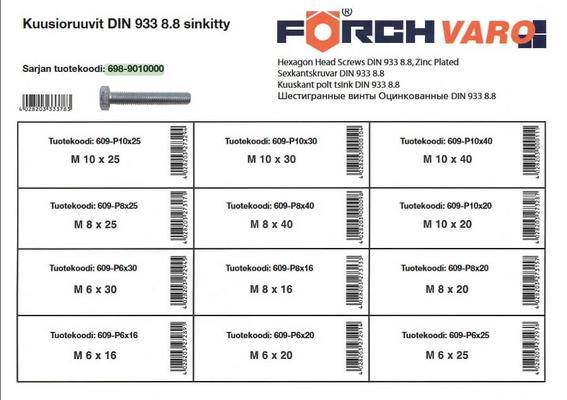 Kuusioruuvilajitelma DIN933-8.8, sinkitty - Förch - Kuusioruuvilajitelma DIN933-8.8, sinkitty