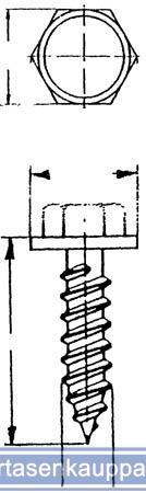 Levyruuvilajitelma: kuusiolevyruuvit aluslevyllä, sinkitty - Levyruuvilajitelma