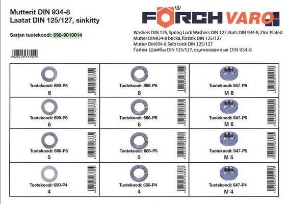 Mutteri- ja laattalajitelma DIN125/127/934, sinkitty, Förch - Mutteri- ja laattalajitelma DIN125/127/934, sinkitty
