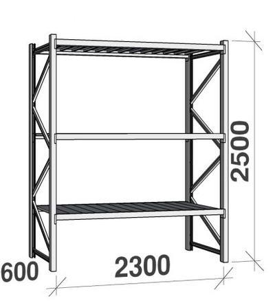 Metallihylly, perusosa (2500 x 2300 x 600 mm, 350 kg / hyllytaso), 3 tasoa - Metallihylly, perusosa (2500x2300x600mm, 350 kg/hyllytaso)