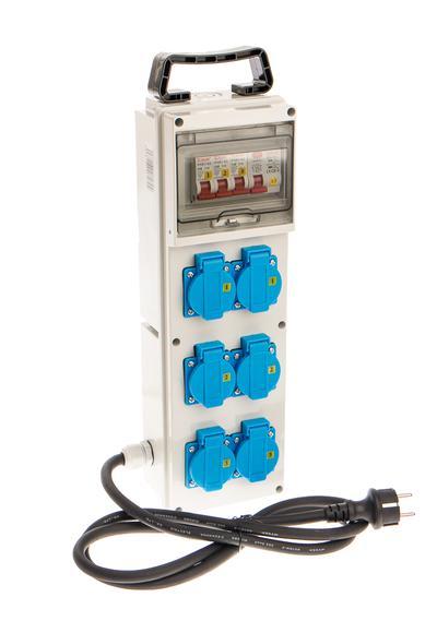 Sähkökeskus schuko-pistokkeilla 6 x 16 A / 230 V - Sähkökeskus schuko-pistokkeella 6 x 16 A / 230 V