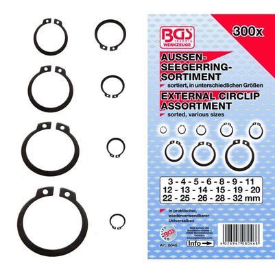 300-osainen ulkolukkorengaslajitelma - BGS Technic - Ulkopuolinen lukkorengaslajitelma, 300 osaa
