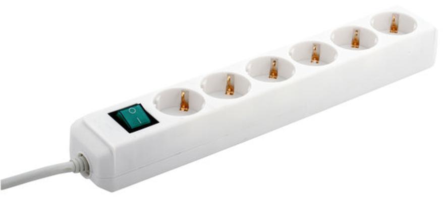 Haaroitusjatkojohto on/off-kytkimellä, Brennenstuhl - 6-haarainen, 1,5 m -valkoinen
